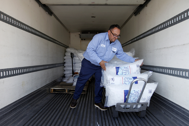 Armando Davis of Ice Now delivers ice to an event at Walker Zanger in Las Vegas Wednesday, April 30, 2014. (John Locher/Las Vegas Review-Journal)