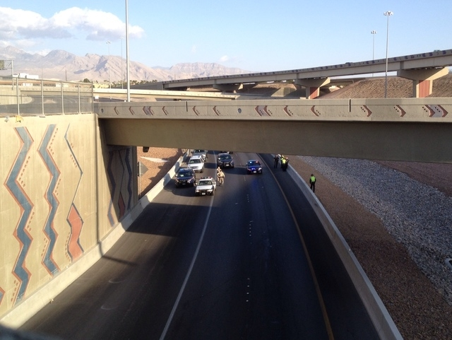 A woman is dead after jumping from the Summerlin Parkway overpass Tuesday morning. (Jeff Scheid/Las Vegas Review-Journal)