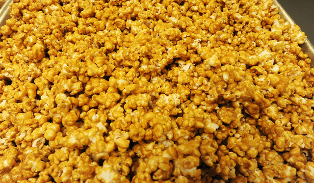 A tray of caramel corn is ready for bagging at Jadon Foods.  (Jerry Henkel/Las Vegas Review-Journal)