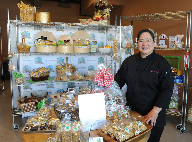 Jane Lee, owner, poses for a photo in the retail area at Jadon Foods gluten-free bakery in Las Vegas on May 1.  (Jerry Henkel/Las Vegas Review-Journal)