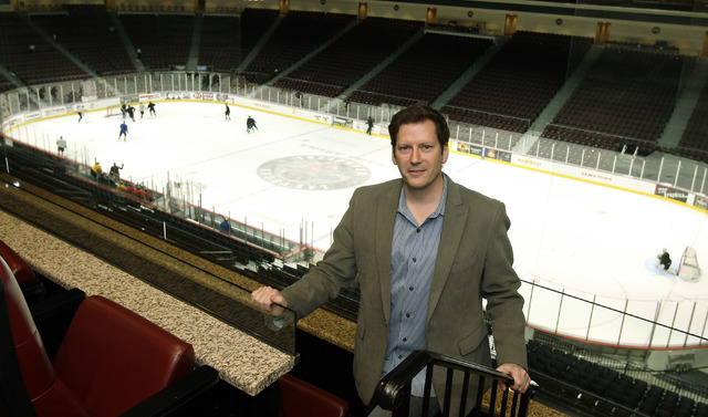 Las Vegas Wranglers President and COO Billy Johnson poses above the ice rink at the Orleans while the Wranglers practice Tuesday, December 14, 2010. (JOHN GURZINSKI/LAS VEGAS REVIEW-JOURNAL)