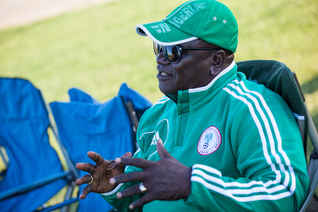 Danladi Nasidi, coach of Nigeria's U-13 soccer team, talks about 10-year-old Lateef Omidiji Jr. with the Review-Journal before Omidiji Jr.'s soccer practice at Russell Road Recreation Complex, 590 ...