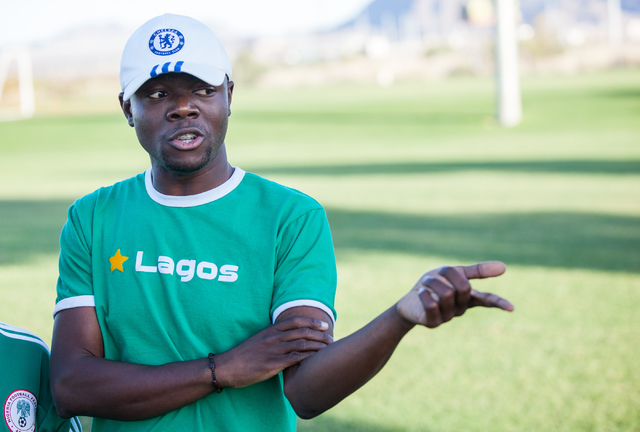 Lateef Omidiji, who once played soccer in his home country of Nigeria, speaks about his son, 10-year-old Lateef Omidiji Jr., with the Review-Journal before Omidiji Jr.'s soccer practice at Russell ...