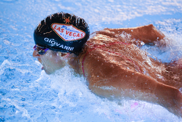 Las Vegas Masters swim team member Melissa Giovanni swims during a meeting at Desert Breeze Aquatic Facility, 8275 Spring Mountain Rd., in Las Vegas on Thursday, May 8, 2014. The team, which compe ...