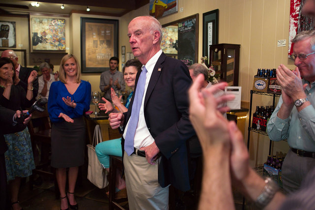 Democratic congressional candidate Keith Crisco addresses supporters at Lumina Wine & Beer on May 6, 2014, in Asheboro, N.C. Sources say that Crisco died at home on Monday after an accident. The p ...