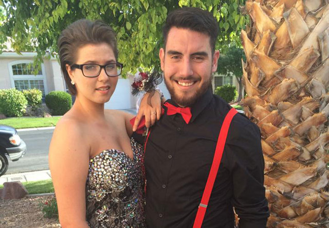 Leah Goldberg, left, went to her prom with Austin Hille in early May. Leah, a senior at Northwest Career and Technical Academy, is now at Sunrise Hospital and Medical Center suffering from a brain ...