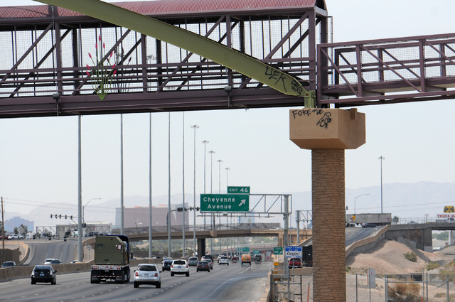 Graffiti is seen sprayed on the newly completed pedestrian bridge over Losee Road and Interstate 15 near Cheyenne Avenue in North Las Vegas on Saturday, May 17, 2014. (Erik Verduzco/Las Vegas Revi ...