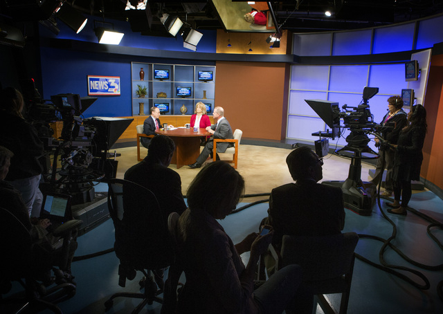 """""""Nevada Newsmakers"""" host Sam Shad, left, questions Sen. Sue Lowden and Sen. Mark Hutchison, R-Las Vegas, during the Republican lieutenant governor debate at KSNV, Channel 3 studios on Monday, May  ..."""