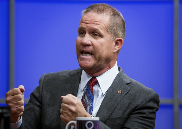 State Sen. Mark Hutchison, R-Las Vegas, speaks during the Republican lieutenant governor debate with former state Sen. Sue Lowden at KSNV, Channel 3 studios on Monday, May 12, 2014. (Jeff Scheid/L ...
