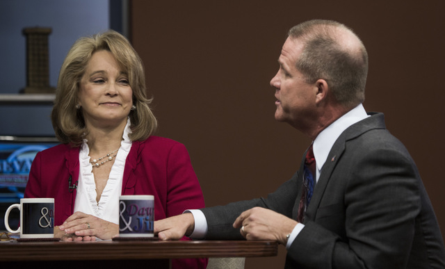 Former state Sen. Sue Lowden, left, and state Sen. Mark Hutchison, R-Las Vegas, talking about issues during the Republican lieutenant governor debate at KSNV, Channel 3 studios on Monday, May 12,  ...