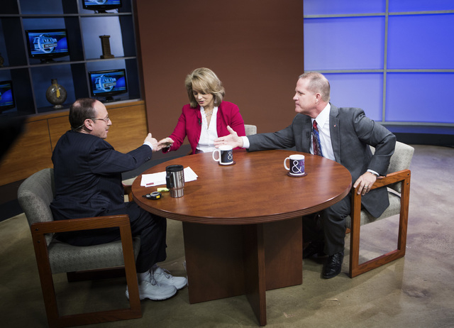 """""""Nevada Newsmakers"""" host Sam Shad, left, shakes hands with Sen. Sue Lowden and Sen. Mark Hutchison, R-Las Vegas during the Republican lieutenant governor debate at  KSNV, Channel 3 studios on Mond ..."""
