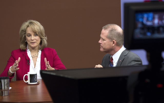 Former state Sen. Sue Lowden, left, and state Sen. Mark Hutchison, R-Las Vegas, take part in the Republican lieutenant governor debate at KSNV, Channel 3 studios on Monday, May 12, 2014. The debat ...