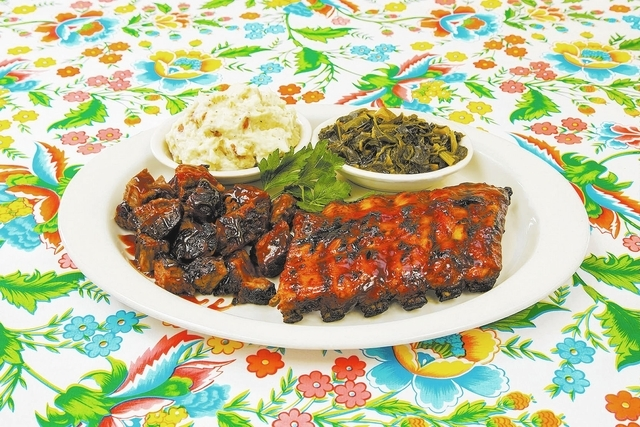 BBQ Ribs and Burnt Ends Platter at Lucille's, The District at Green Valley Ranch in Henderson and Red Rock Resort: Both a half-rack of rubs and a pile of burnt ends — those flavor-packed piece ...
