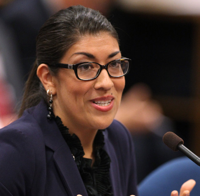 Nevada Assemblywoman Lucy Flores testifies in committee at the Legislative Building in Carson City on May 17, 2013. Flores is running for lieutenant governor. (AP Photo/Cathleen Allison)