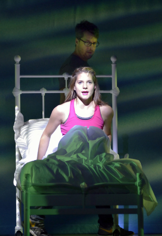 """Kimbre Lancaster, as Sophie, in bed, and Trey Ellett, as Harry, perform during a technical rehearsal for """"Mamma Mia!"""" in the Tropicana Theater at the Tropicana hotel-casino at 3801 Las V ..."""