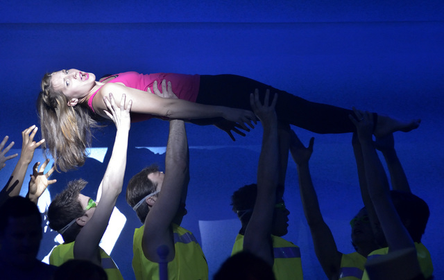 """Kimbre Lancaster performs as Sophie during a technical rehearsal for """"Mamma Mia!"""" in the Tropicana Theater at the Tropicana hotel-casino at 3801 Las Vegas Blvd., South, in Las Vegas on T ..."""