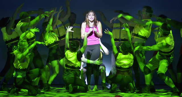 """Kimbre Lancaster, as Sophie, center, performs with other cast members during a technical rehearsal for """"Mamma Mia!"""" in the Tropicana Theater at the Tropicana hotel-casino at 3801 Las Veg ..."""