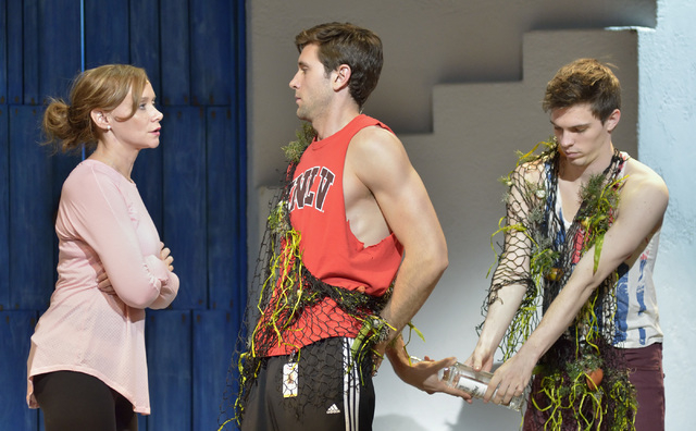 """Christine Sherrill, as Donna, left, Jordan Bondurant, as Sky, center, and Joe Moeller, as Pepper, perform during a technical rehearsal for """"Mamma Mia!"""" in the Tropicana Theater at the Tr ..."""