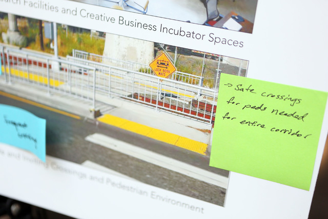 Community members' ideas are written down and placed on an idea board during a Southern Nevada Strong regional planning initiative open house at The Boulevard Mall Thursday, May 22, 2014, in Las V ...
