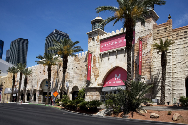 An entrance slated for renovation is shown at Miracle Mile Shops at Planet Hollywood in Las Vegas, on Friday, May 9, 2014. General Manager Jerry Irwin said a 60,000 sq. ft. expansion of the mall i ...