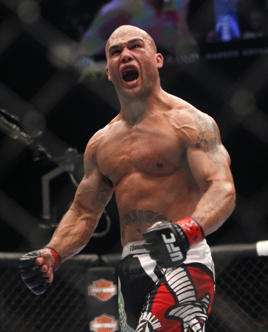 Robbie Lawler celebrates after defeating Jake Ellenberger during UFC 173 at the MGM Grand Garden Arena in Las Vegas on Saturday, May 24, 2014. (Jason Bean/Las Vegas Review-Journal)