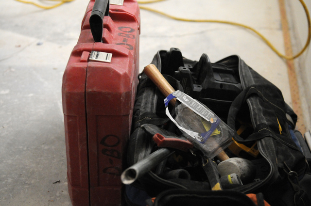 Construction tools are seen inside a condominium at the Rain Tree West Complex in Las Vegas during a mold remediation project by Summit Restoration Inc., Tuesday, April 15, 2014. (Erik Verduzco/La ...