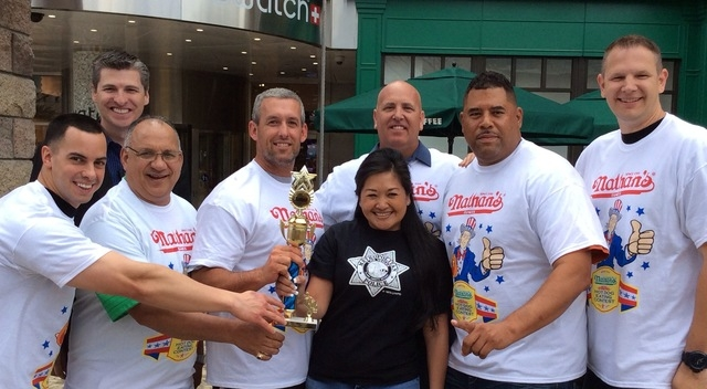 New York New York, 3790 Las Vegas Blvd. South, hosted the Nevada qualifying competition April 26 for Nathan's Famous International Hog Dog Contest, scheduled for July 4 in Coney Island, N.Y. Pictu ...
