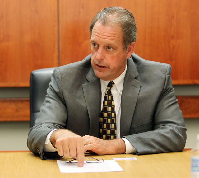 North Las Vegas Mayor John Lee talks to the Las Vegas Review-Journal editorial board at the R-J offices in Las Vegas Thursday, May 22, 2014. Lee said a bill that would allow cities to go belly up, ...