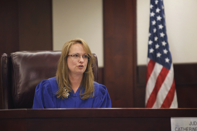 Judge Catherine Ramsey presides over the City of North Las Vegas Municipal Court during an afternoon session on April 17. (Jason Bean/Las Vegas Review-Journal)