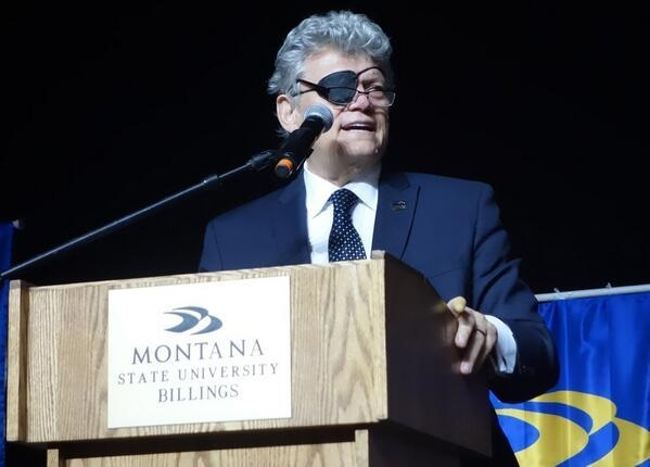Norm Clarke gives the Commencement Address for Montana State University-Billings on May 3, 2014. (Courtesy)