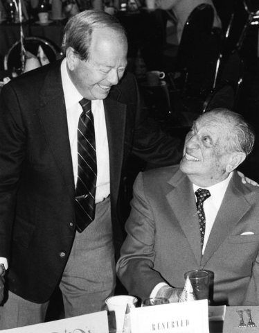 "Burton Cohen, left, speaks to Morris ""Moe"" Dalitz at a 35th Anniversary party at the Desert Inn hotel-casino in Las Vegas, April 2, 1985. (Gary Thompson/Las Vegas Review-Journal)"