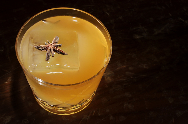A Mark Twain made by Marshall Altier, chief mixologist at Rose.Rabbit.Lie in the Cosmopolitan hotel-casino at 3708 Las Vegas Blvd., South, in Las Vegas, is shown on Thursday, March 27, 2014. The d ...