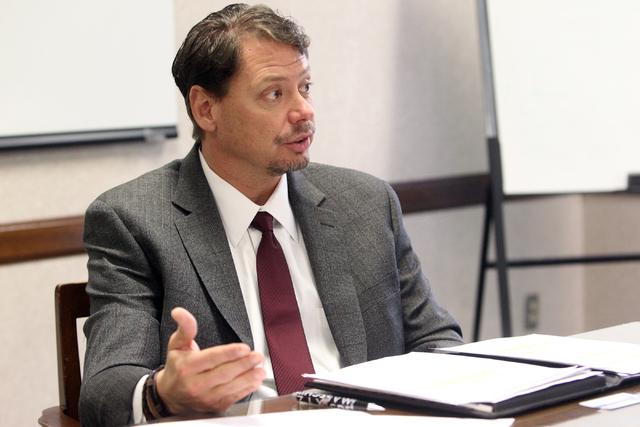 Clark County School District Superintendent Pat Skorkowsky talks to the Las Vegas Review-Journal editorial board on Jan. 21. (K.M. Cannon/Las Vegas Review-Journal)