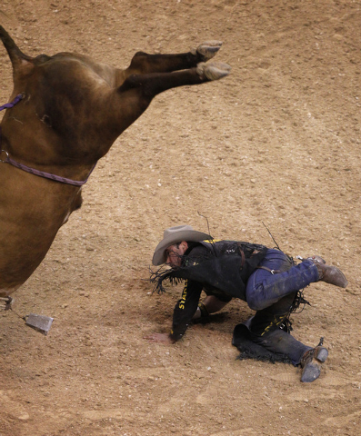 Guilherme Marchi gets bucked off of Bushwacker during the final night of the PBR Las Cowboy Standing at Mandalay Bay in Las Vegas Saturday, May 10, 2014. (John Locher/Las Vegas Review-Journal)
