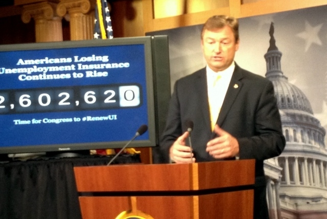 Sen. Dean Heller, R-Nev., on Thursday, calls on House Speaker John Boehner to drop demand for White House job amendments and take up bill to extend unemployment benefits. Chart at left shows numbe ...
