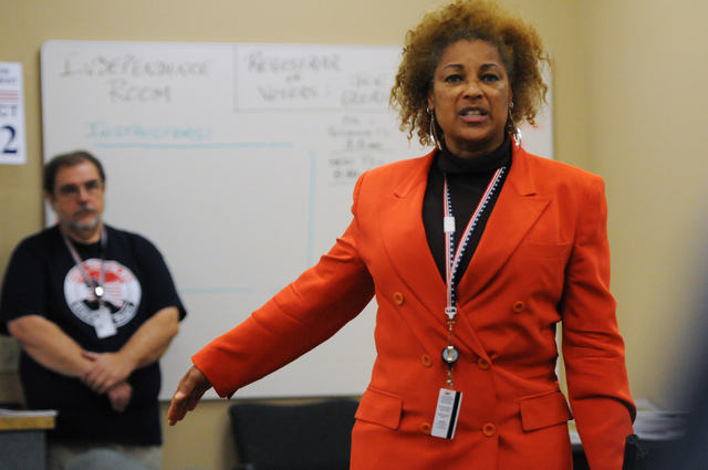 Program assistant instructor Nedra Armstrong trains poll workers during a class at the Clark County Election Center Office in North Las Vegas Wednesday, May 21, 2014. (Erik Verduzco/Las Vegas Revi ...