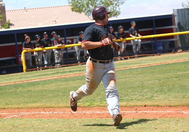 Faith Lutheran's Dakota Greenawalt (18) heads towards first during his home run while playing against Coronado in the sixth inning of a baseball game at Coronado High School in Henderson on Saturd ...