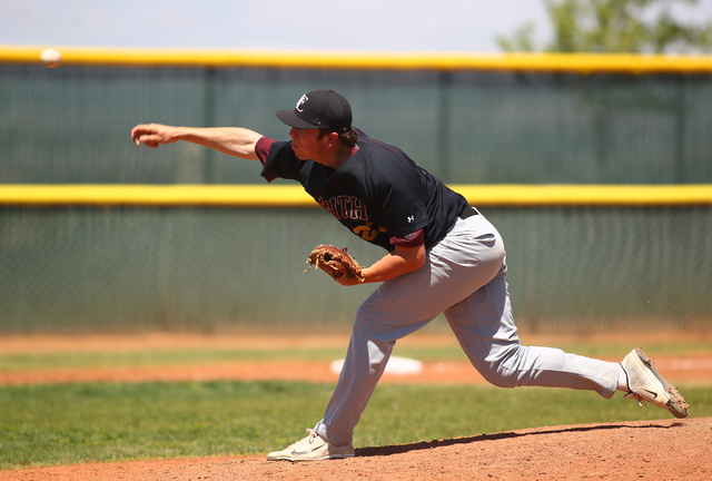 Faith Lutheran's Brandon Johnson fires a pitch to Coronado in the second inning of a baseball game at Coronado High School in Henderson on Saturday, May 3, 2014. Faith Lutheran won 11-3. (Chase St ...