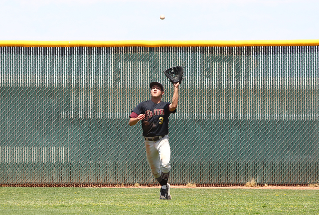 Faith Lutheran's Cameron Sepede (3) catches a fly ball from Coronado's Nicco Festa, not pictured, in the fifth inning of a baseball game at Coronado High School in Henderson on Saturday, May 3, 20 ...
