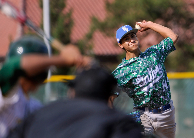 Green Valley pitcher Keola Paragas fires a pitch against Rancho on Tuesday. Paragas allowed two earned runs on six hits with nine strikeouts and hit a solo homer in in a 10-4 Green Valley win. (Da ...