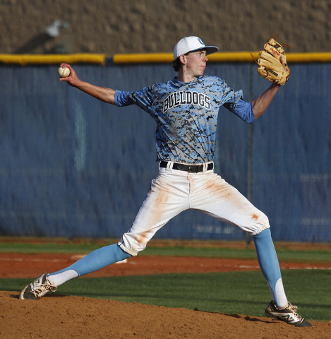 Centennial's James Harbour (6) delivers a pitch against Las Vegas during their baseball game on Friday. Harbour only gave up five hits in six innings to earn the win in a 7-2 Centennial victory. ( ...