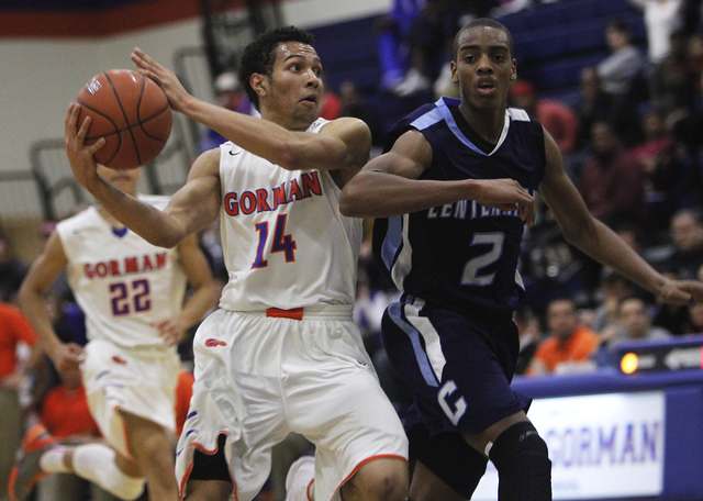 Bishop Gorman senior point guard Noah Robotham (14), the Review-Journal's state player of the year, committed to Akron on Friday. (Jason Bean/Las Vegas Review-Journal)