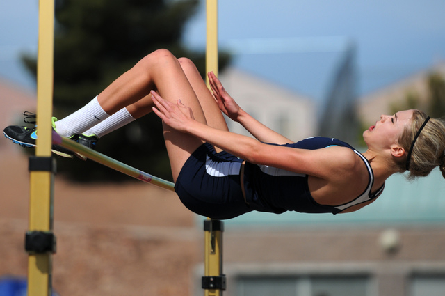 Coronado's Ali Hauck competes in the girls high jump event during the Sunrise and Sunset Region track meet semifinals at Palo Verde High School in Las Vegas Saturday, May 17, 2014. (Erik Verduzco/ ...
