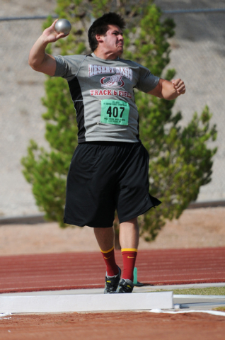 Desert Oasis Gary Abdella competes in the boys shot put event during the Sunrise and Sunset Region track meet semifinals at Palo Verde High School in Las Vegas Saturday, May 17, 2014. (Erik Verduz ...