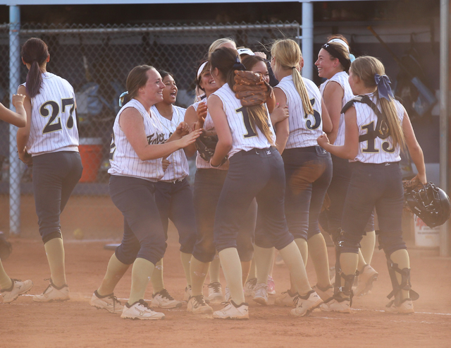 Foothill softball players celebrate an 8-7 win over Coronado on Wednesday. (Chase Stevens/Las Vegas Review-Journal)