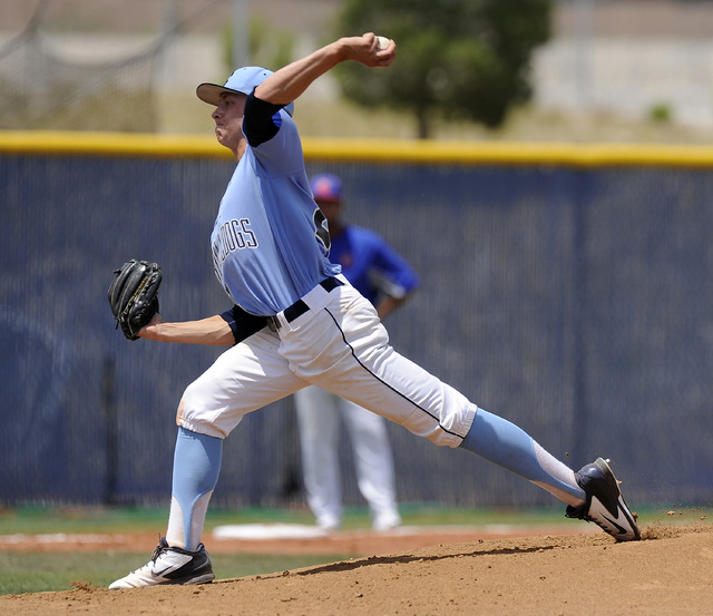 Centennial pitcher Cooper Powell delivers against the Bishop Gorman in the first inning of the Sunset Region championship game on Saturday. Powell pitched a five-hitter to lead the Bulldogs to a 3 ...
