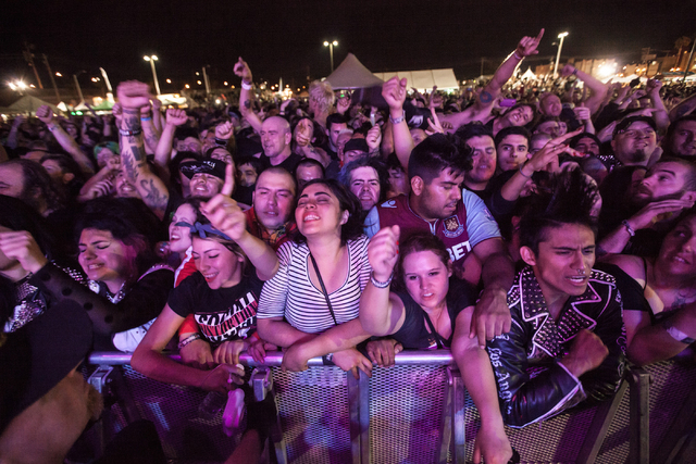 Fans cheer and sing along as Cock Sparrer performs at the Punk Rock Bowling music festival in downtown Las Vegas on Saturday, May 24, 2014. (Chase Stevens/Las Vegas Review-Journal)