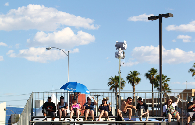 Attendees watch Good Riddance perform at the Punk Rock Bowling music festival in downtown Las Vegas on Monday, May 26, 2014. (Chase Stevens/Las Vegas Review-Journal)