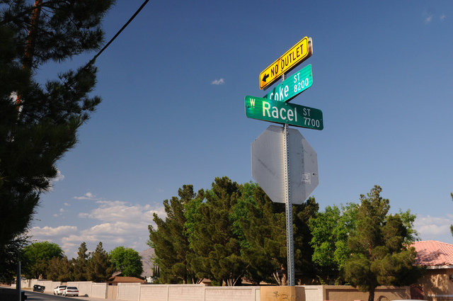 The intersection of Racel and Coke Street is seen in Las Vegas on Sunday, April 20, 2014. The intersection is near where Frank and Mary Ellen Racel built their home on what became known as Racel S ...