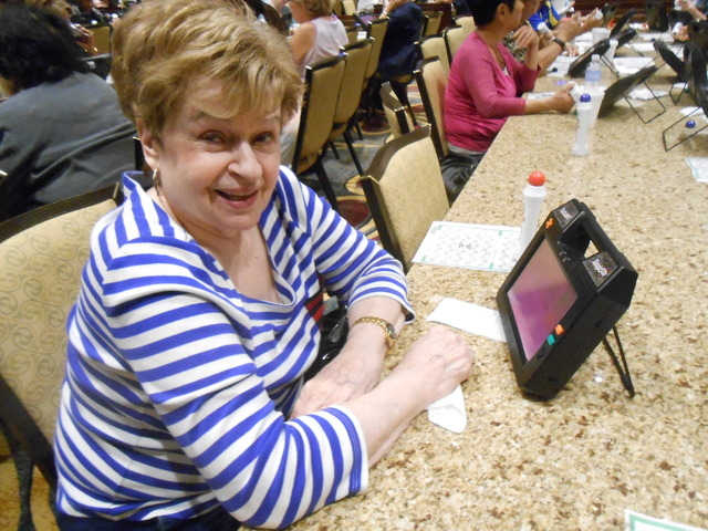 Helen Bertasius plays bingo April 18 at the Rampart Casino, 221 N. Rampart Blvd. The casino just added the game to its offerings. (Jan Hogan/View)